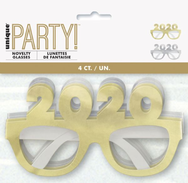 Neon Dots New Years Eve Gold & Silver 2020 Party Glasses